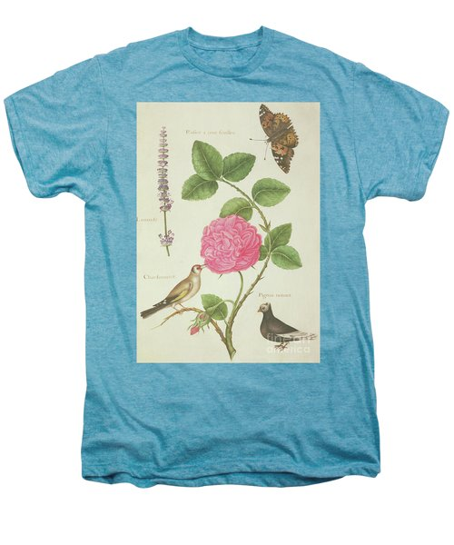 Centifolia Rose, Lavender, Tortoiseshell Butterfly, Goldfinch And Crested Pigeon Men's Premium T-Shirt by Nicolas Robert