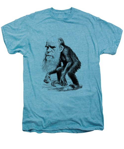 Charles Darwin As An Ape Cartoon Men's Premium T-Shirt by War Is Hell Store