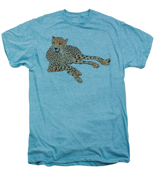 Cheetah Resting, Isolated On White Background, Cartoon Style #1 Men's Premium T-Shirt