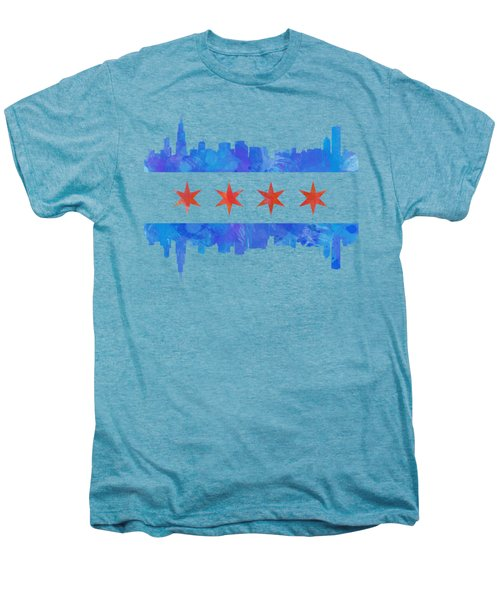 Chicago Flag Watercolor Men's Premium T-Shirt by Mike Maher