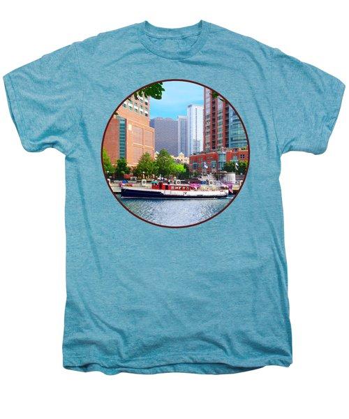 Chicago Il - Chicago River Near Centennial Fountain Men's Premium T-Shirt by Susan Savad