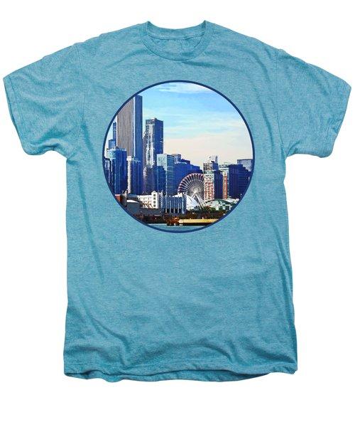 Chicago Il - Chicago Skyline And Navy Pier Men's Premium T-Shirt by Susan Savad
