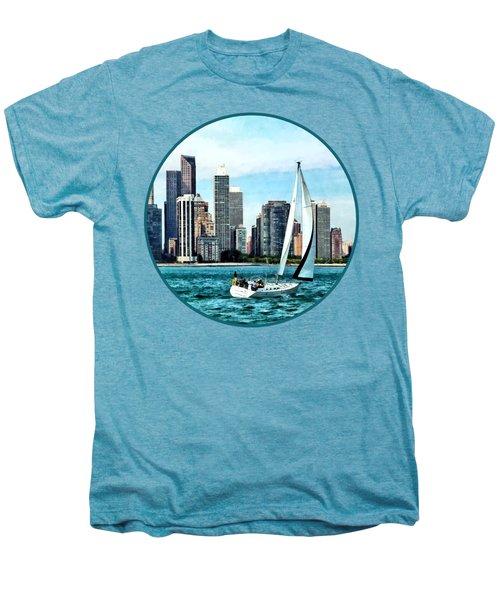 Chicago Il - Sailboat Against Chicago Skyline Men's Premium T-Shirt by Susan Savad