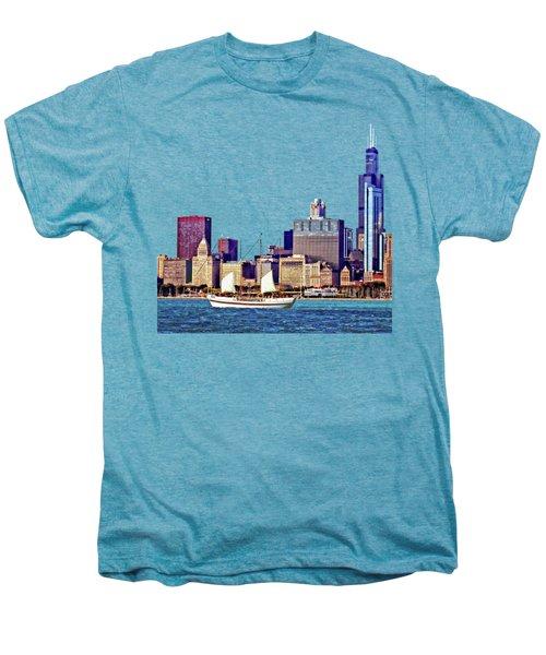 Chicago Il - Schooner Against Chicago Skyline Men's Premium T-Shirt by Susan Savad