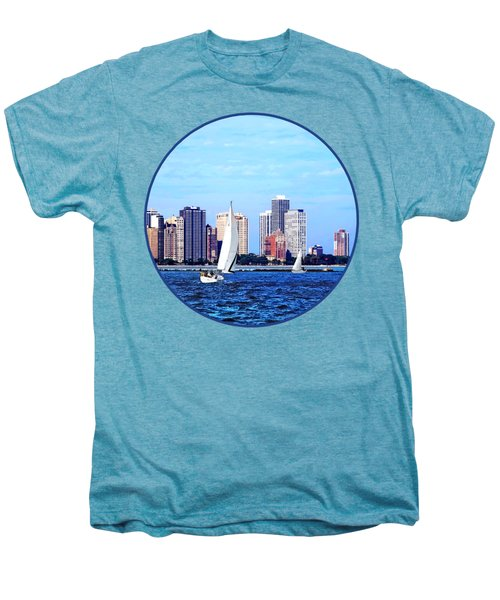 Chicago Il - Two Sailboats Against Chicago Skyline Men's Premium T-Shirt by Susan Savad