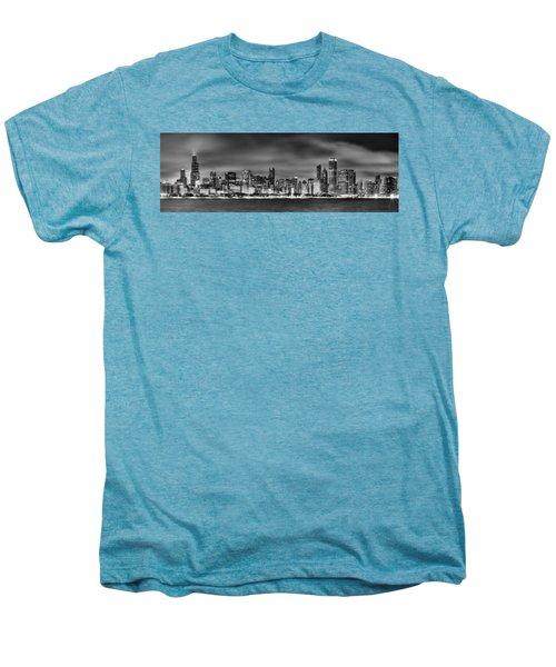 Chicago Skyline At Night Black And White Men's Premium T-Shirt