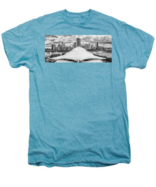 Men's Premium T-Shirt featuring the photograph Chicago Skyline From Navy Pier Black And White by Adam Romanowicz