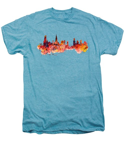 Chicago Watercolor Skyline Men's Premium T-Shirt by Marian Voicu