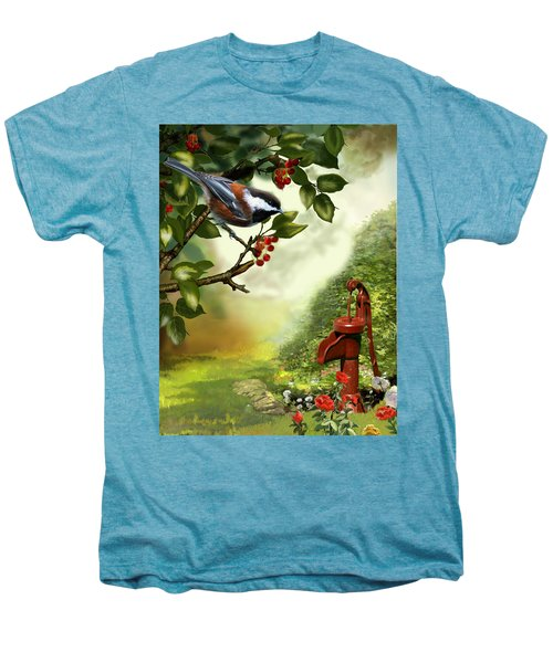 Chickadee Visiting The Water Pump Men's Premium T-Shirt by Regina Femrite