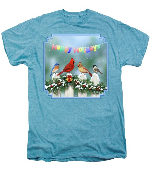 Christmas Birds And Garland Men's Premium T-Shirt by Crista Forest