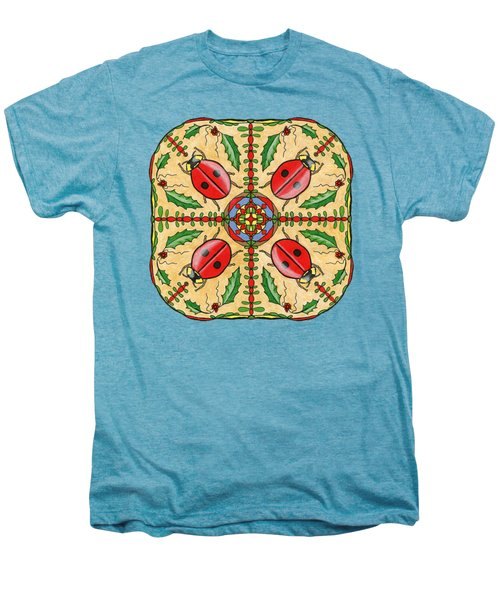 Christmas Ladybug Mandala Men's Premium T-Shirt by Tanya Provines