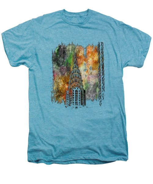 Chrysler Spire Muted Rainbow 3 Dimensional Men's Premium T-Shirt by Di Designs