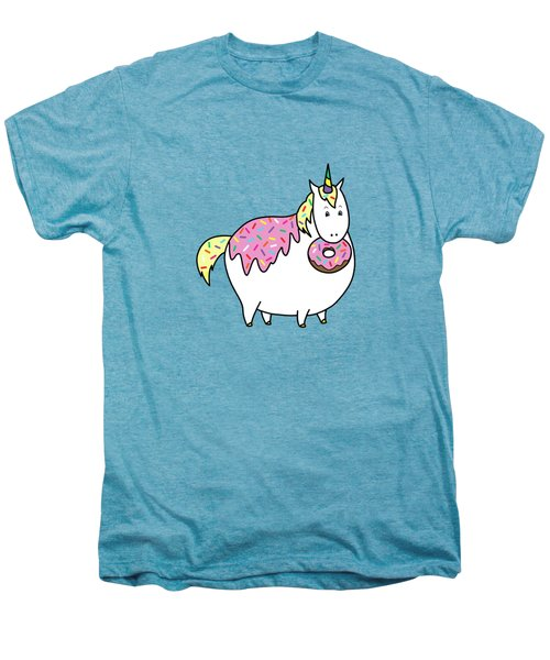 Chubby Unicorn Eating Sprinkle Doughnut Men's Premium T-Shirt
