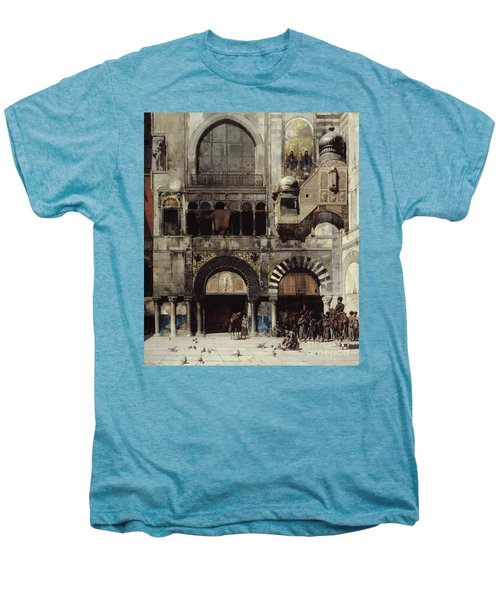 Circassian Cavalry Awaiting Their Commanding Officer At The Door Of A Byzantine Monument Men's Premium T-Shirt by Alberto Pasini