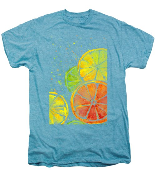 Citrus Fruit Watercolor Men's Premium T-Shirt by Olga Shvartsur