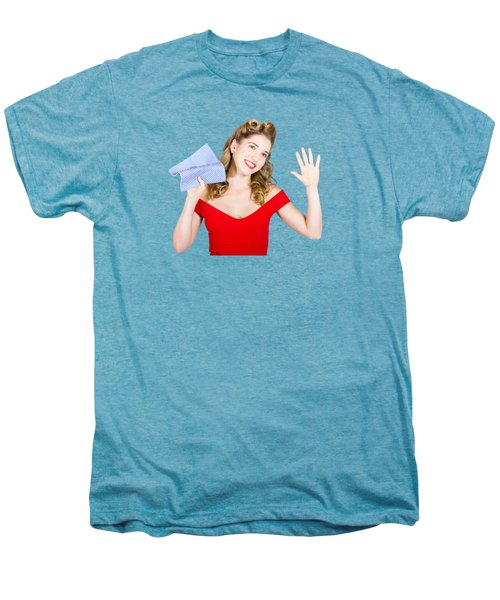 Cleaning Pin Up Maid Holding Washer Rag On White Men's Premium T-Shirt