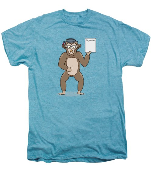 Clever Monkey With Diploma Men's Premium T-Shirt