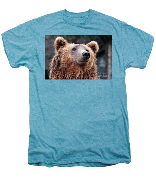 Men's Premium T-Shirt featuring the photograph Close Up Bear by MGL Meiklejohn Graphics Licensing