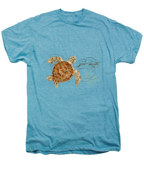 Coastal Waterways - Green Sea Turtle Rectangle 2 Men's Premium T-Shirt by Audrey Jeanne Roberts