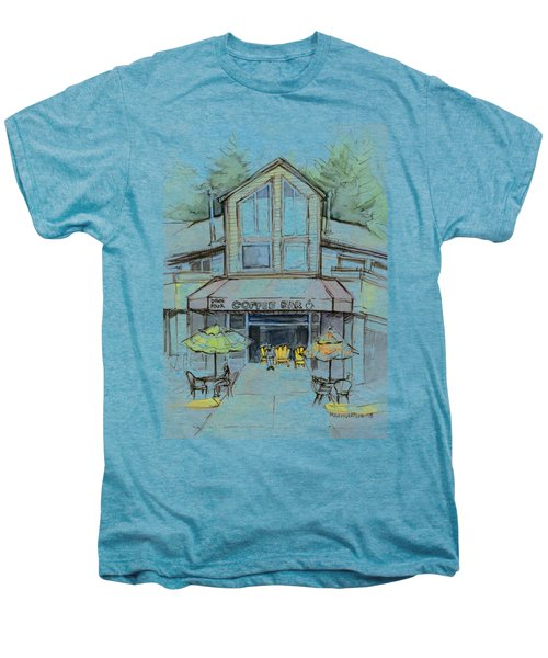 Coffee Shop Watercolor Sketch Men's Premium T-Shirt by Olga Shvartsur