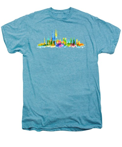 Color Barcelona Skyline 01 Men's Premium T-Shirt by Aloke Creative Store