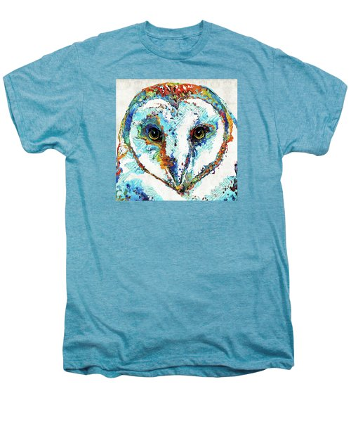 Colorful Barn Owl Art - Sharon Cummings Men's Premium T-Shirt by Sharon Cummings