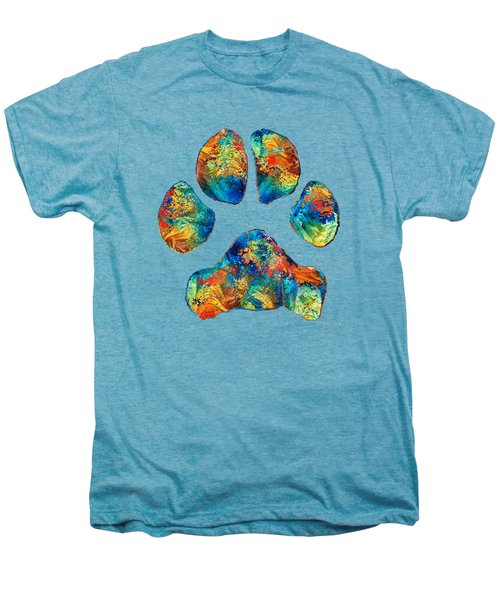 Colorful Dog Paw Print By Sharon Cummings Men's Premium T-Shirt by Sharon Cummings