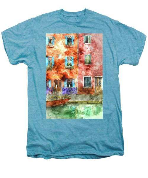 Colorful Houses In Burano Island, Venice Men's Premium T-Shirt