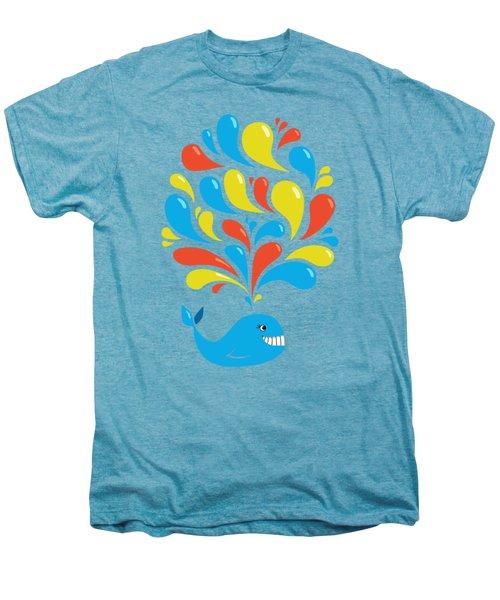 Colorful Swirls Happy Cartoon Whale Men's Premium T-Shirt by Boriana Giormova