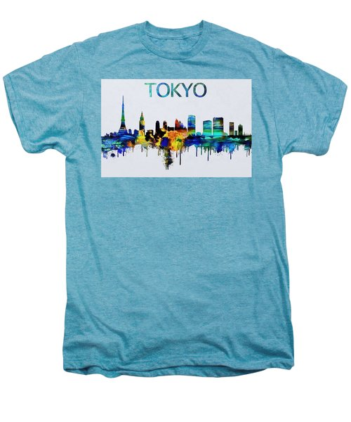 Colorful Tokyo Skyline Silhouette Men's Premium T-Shirt by Dan Sproul