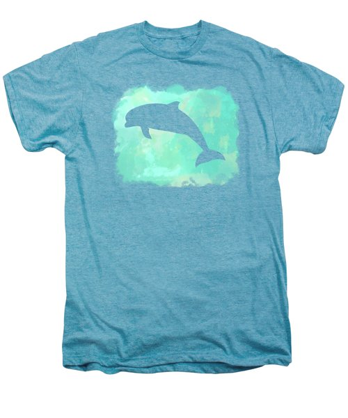 Colorful Watercolor Dolphin Sea Life Coastal Art Men's Premium T-Shirt
