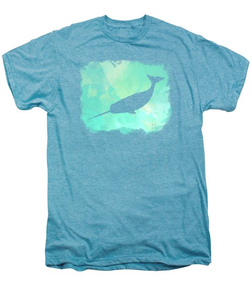 Colorful Watercolor Narwhal Sea Life Coastal Art Men's Premium T-Shirt