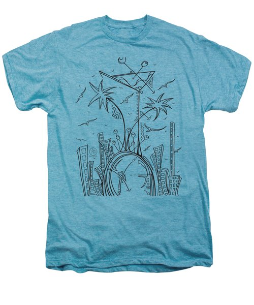Coloring Page With Beautiful City Martini Drawing By Megan Duncanson Men's Premium T-Shirt