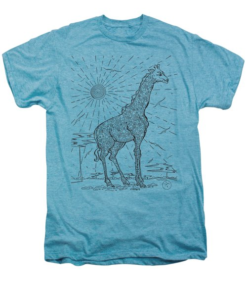 Coloring Page With Beautiful Giraffe Drawing By Megan Duncanson Men's Premium T-Shirt by Megan Duncanson