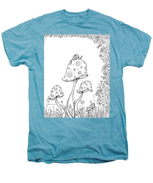Coloring Page With Beautiful In The Garden 8 Drawing By Megan Duncanson Men's Premium T-Shirt by Megan Duncanson