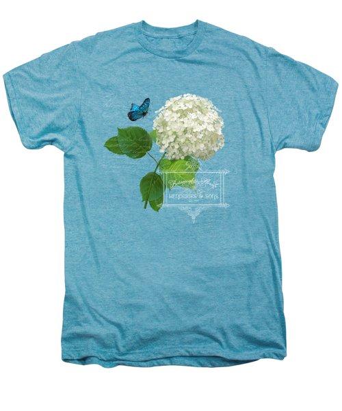 Cottage Garden White Hydrangea With Blue Butterfly Men's Premium T-Shirt by Audrey Jeanne Roberts
