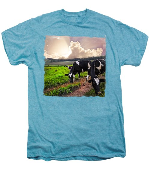 Cows At Sunset Bordered Men's Premium T-Shirt by Debra and Dave Vanderlaan