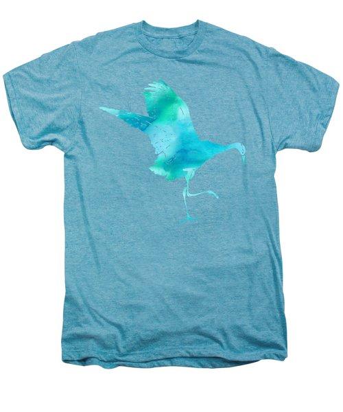 Crane Ready For Flight - Blue-green Watercolor Men's Premium T-Shirt by Custom Home Fashions