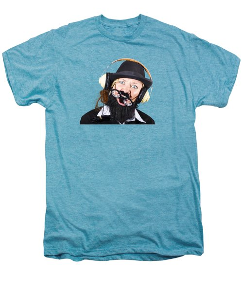 Men's Premium T-Shirt featuring the photograph Crazy Woman With Headphones by Jorgo Photography - Wall Art Gallery