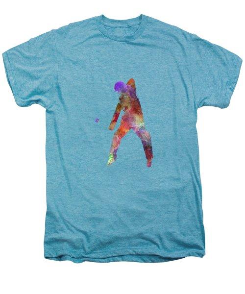 Cricket Player Batsman Silhouette 02 Men's Premium T-Shirt