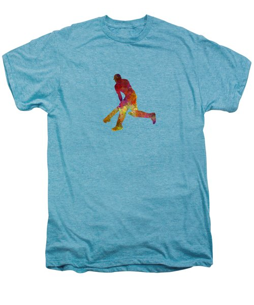 Cricket Player Batsman Silhouette 03 Men's Premium T-Shirt by Pablo Romero