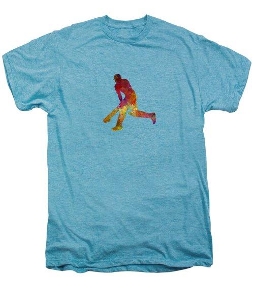 Cricket Player Batsman Silhouette 03 Men's Premium T-Shirt