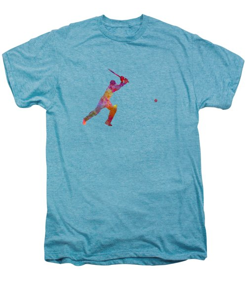 Cricket Player Batsman Silhouette 04 Men's Premium T-Shirt by Pablo Romero