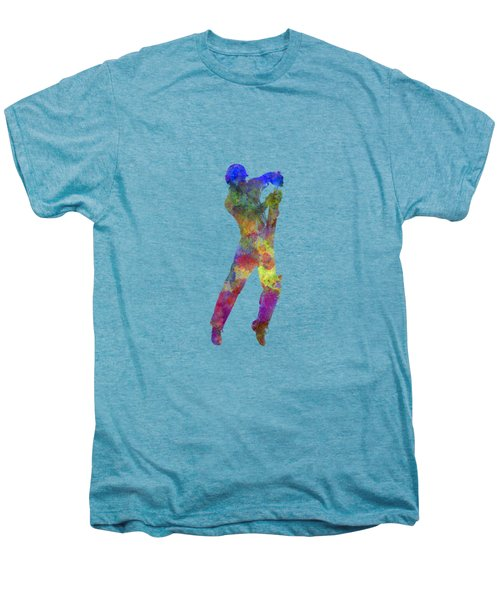 Cricket Player Batsman Silhouette 05 Men's Premium T-Shirt