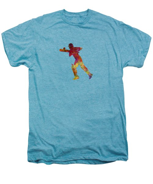 Cricket Player Batsman Silhouette 06 Men's Premium T-Shirt