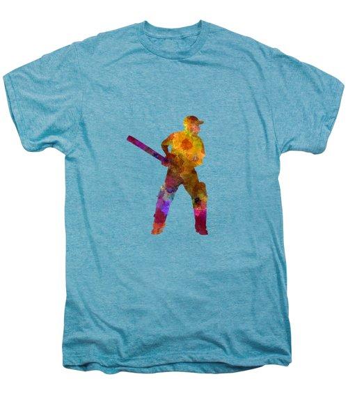 Cricket Player Batsman Silhouette 07 Men's Premium T-Shirt
