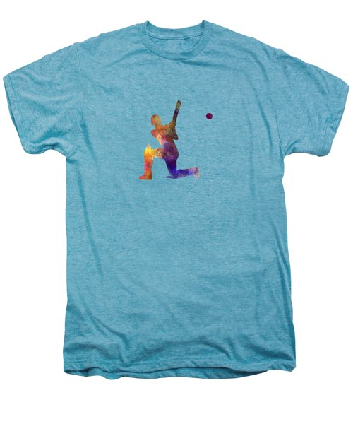 Cricket Player Batsman Silhouette 08 Men's Premium T-Shirt by Pablo Romero