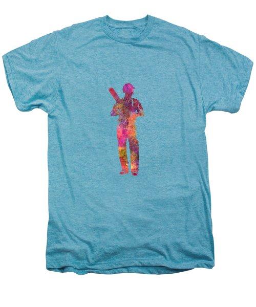 Cricket Player Batsman Silhouette 10 Men's Premium T-Shirt