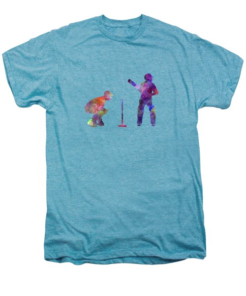 Cricket Player Silhouette Men's Premium T-Shirt by Pablo Romero