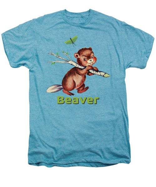 Cute Baby Beaver Pattern Men's Premium T-Shirt